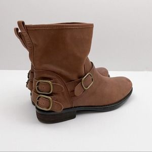 Lucky Brand Leather Boots Brown Bronze Buckle 10